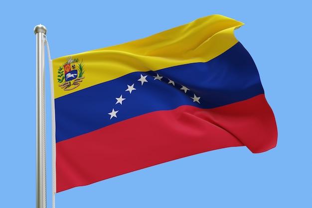 Bandera de venezuela en asta de la bandera ondeando en el viento aislado sobre fondo azul. Foto Premium
