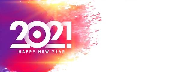 Banner colorido feliz año nuevo 2021 Foto gratis