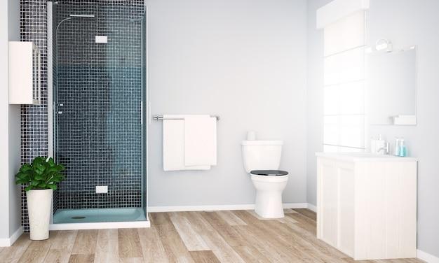 Baño gris con ducha Foto Premium