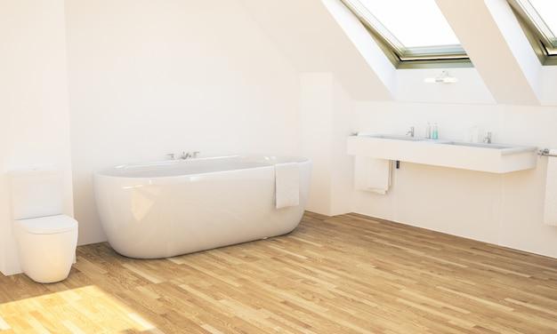 Baño mínimo en el ático. Foto Premium