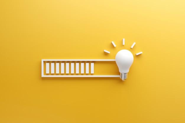 Barra de carga casi completa con la idea procesada en una bombilla de luz sobre fondo amarillo. Foto Premium