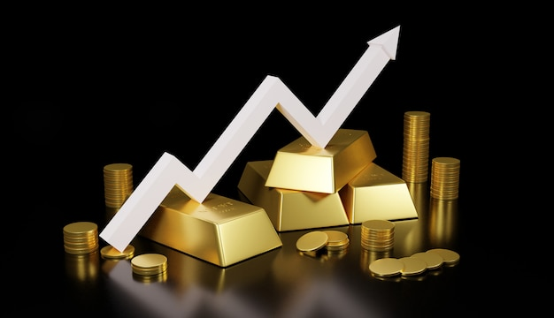 Barra de oro y moneda de oro para el negocio., representación 3d. Foto Premium