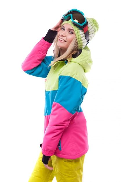 Bastante joven en traje de esquí Foto Premium
