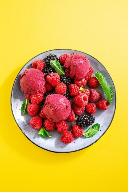 Berry refrescante cucharadas de helado en un plato Foto gratis