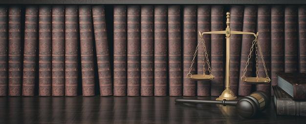 Biblioteca de leyes de filtro de bajo perfil con mazo de juez de madera y escala dorada, representación 3d Foto Premium