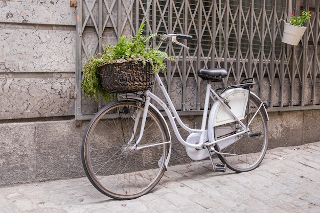 Bicicleta blanca con cesta de mimbre Foto Premium