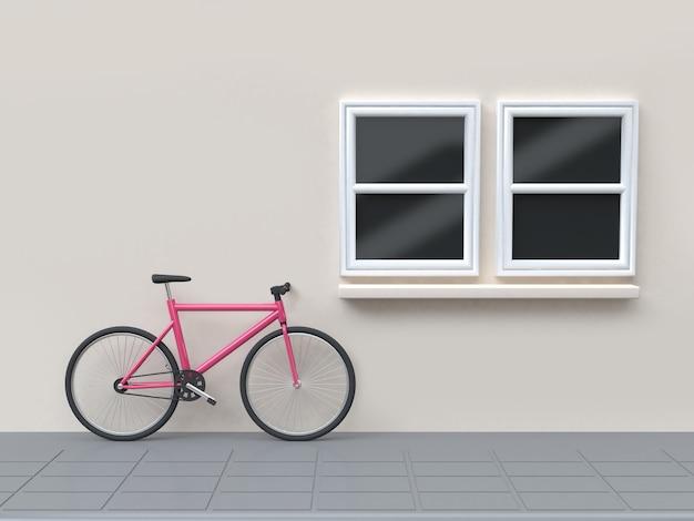 Bicicleta rosa en las ventanas de la calle y la pared de la representación 3d Foto Premium
