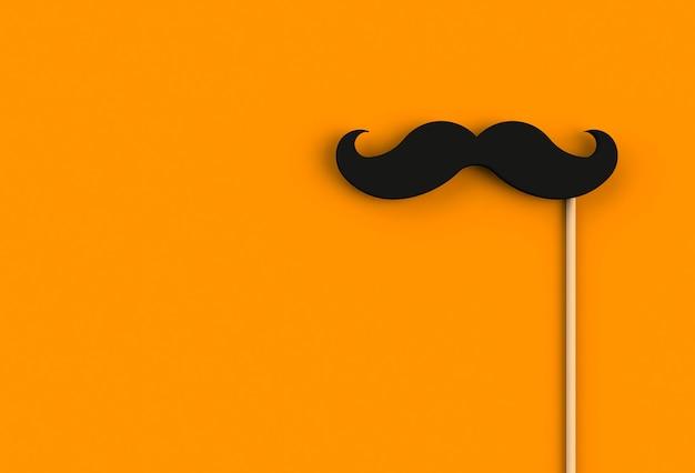 Bigote negro falso sobre fondo naranja, 3d Foto Premium