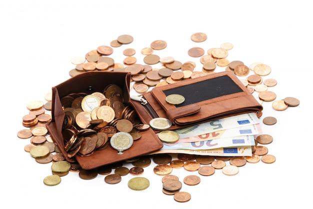 La billetera está llena de dinero Foto Premium