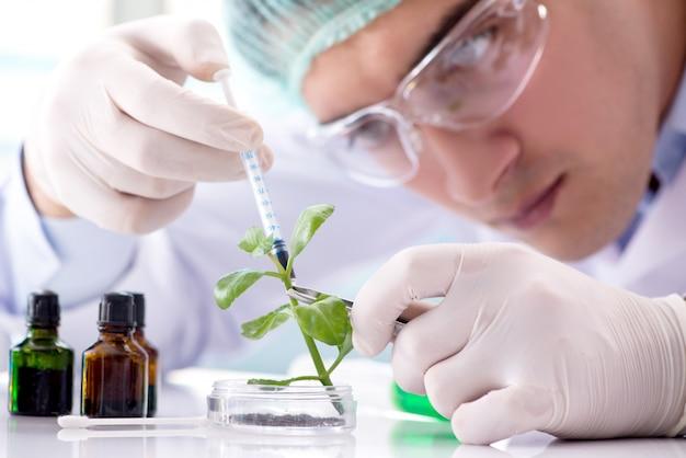 Biotecnología con científico en laboratorio. Foto Premium
