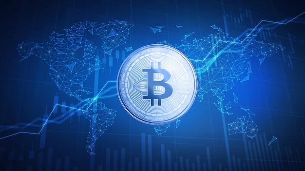 Bitcoin moneda en efectivo en el fondo de hud con gráfico de acciones de toro. Foto Premium