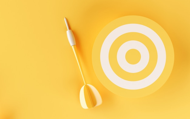 Blanco 3d en fondo amarillo. Foto Premium