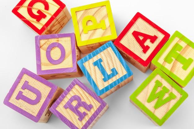 Bloques de madera del alfabeto Foto Premium