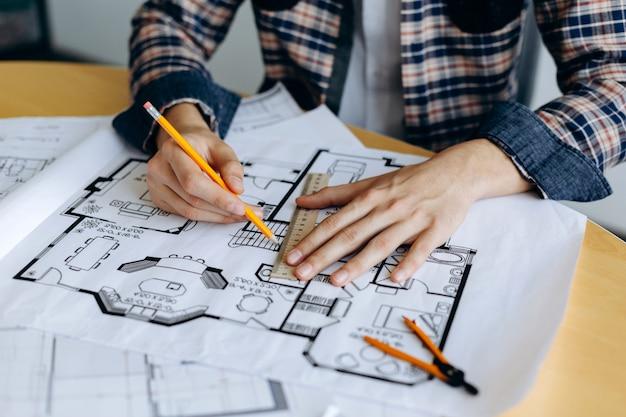 Bocetos de diseño nuevo proyecto arquitectónico Foto Premium