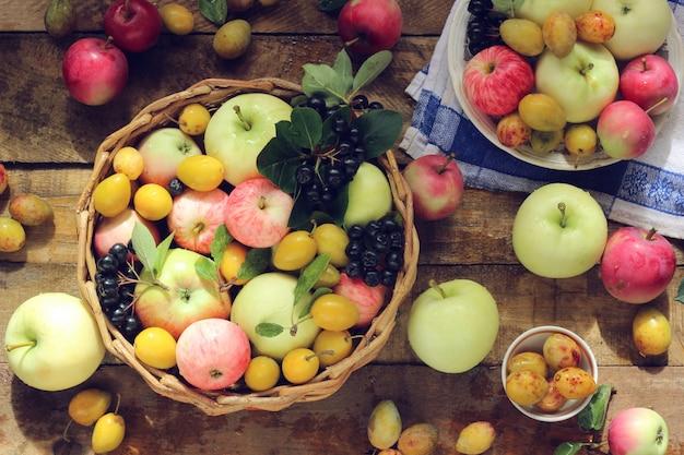 Bodegón con manzanas de diferentes variedades, aronia y ciruelas amarillas en la mesa, vista desde arriba. Foto Premium
