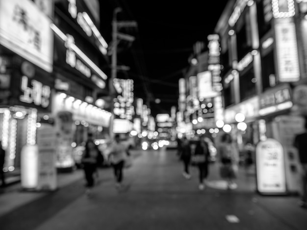 Bokeh blanco y negro en la calle de seúl Foto Premium