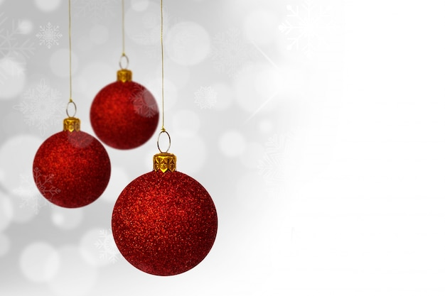 Bolas rojas de navidad con fondo bokeh descargar fotos - Bolas de navidad rojas ...