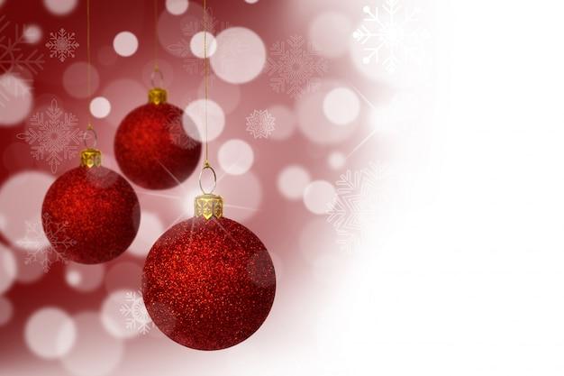 Bolas De Navidad Rojas Sobre Fondo Verde