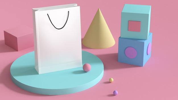 Bolsa de papel blanco y figuras geométricas. Foto Premium