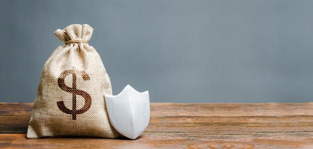 Bolsa con símbolo de dólar y escudo de protección. Foto Premium