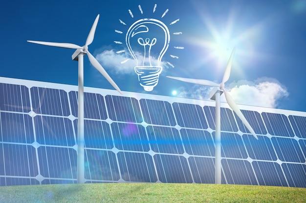 Bombilla con paneles solares Foto gratis