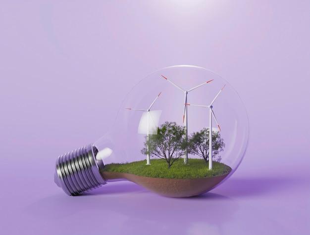 Bombilla con proyecto de molino de viento 3d para ahorrar energía Foto gratis