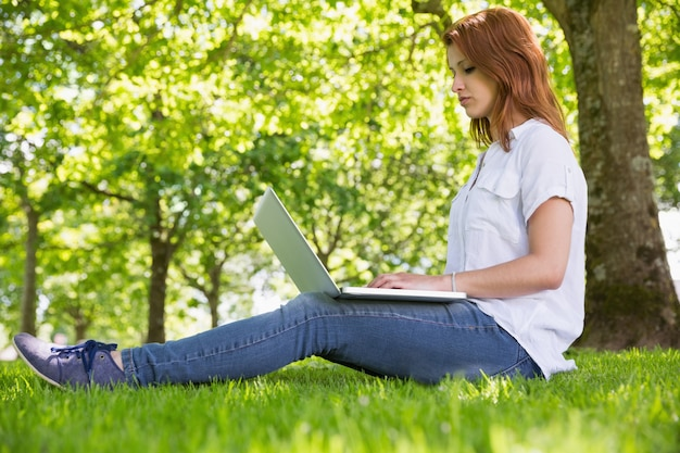 372ea5921 Bonita pelirroja usando su laptop en el parque