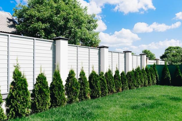 Un bonito patio verde con césped cerca blanca y seto verde en un día soleado Foto Premium