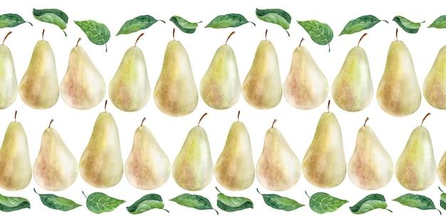 Borde de acuarela pera. frutas, hojas y flores Foto Premium
