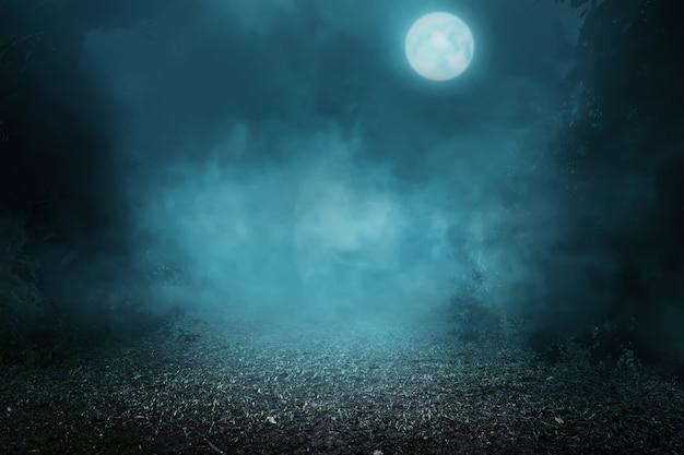 Bosque de niebla espeluznante Foto Premium