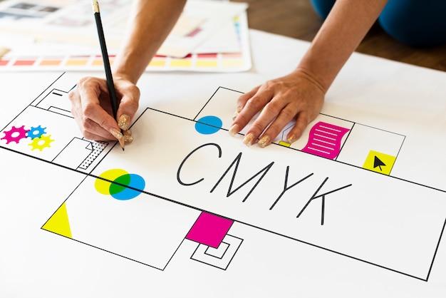 Bosquejo del diseño de cmyk Foto Premium