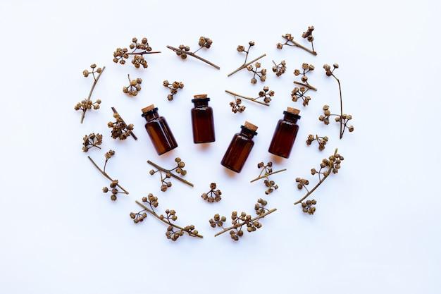 Botella de aceite esencial del eucalipto con seco sembrado de eucalipto en el fondo blanco. Foto Premium