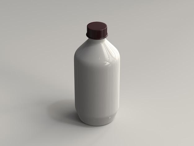 Botella plástica renderizada en 3d sin etiqueta Foto Premium