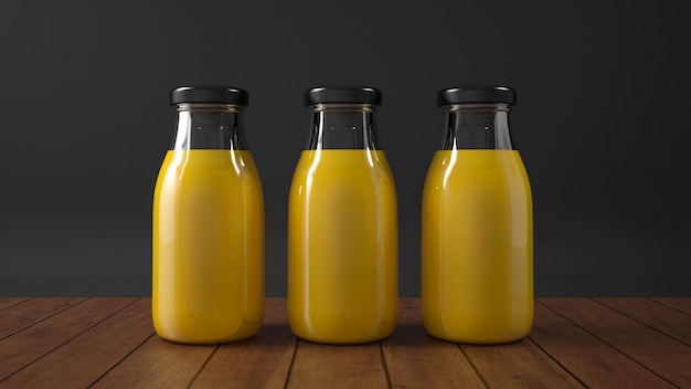 Botella de vidrio de jugo de naranja. Foto Premium