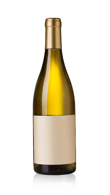 Botella de vino blanco con etiquetas en blanco Foto Premium