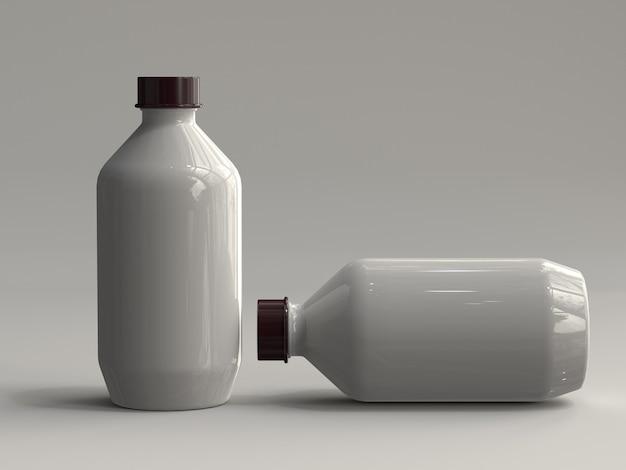 Botellas de plástico renderizadas en 3d sin etiqueta Foto Premium