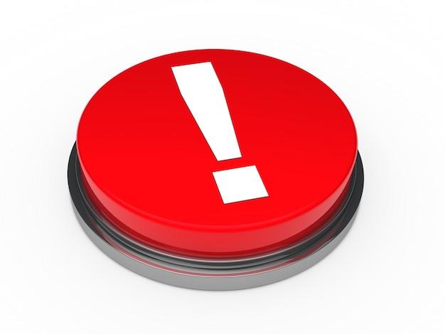 Botón rojo con una admiración Foto gratis