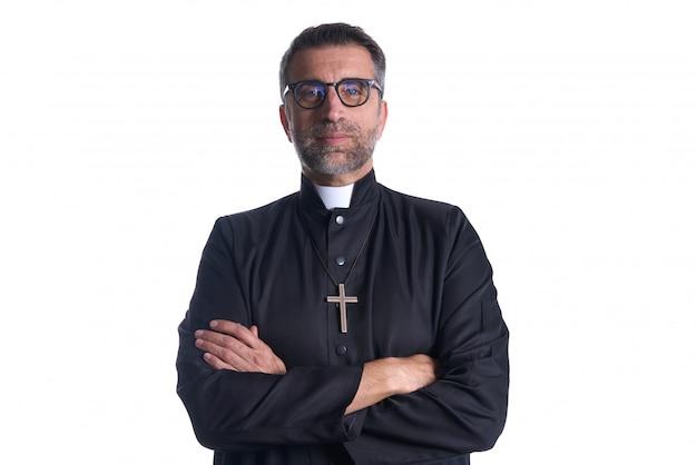 Brazos cruzados sacerdote retrato mayor Foto Premium