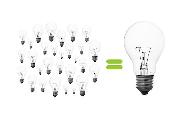 Bulbo creatividad logro luz de lluvia de ideas Foto gratis