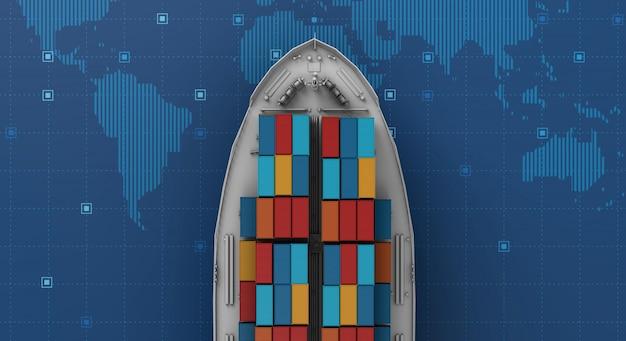 Buque de carga de contenedores en logística de negocios de exportación e importación en mapa del mundo digital Foto Premium
