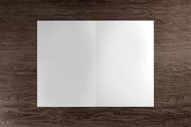 Se burlan de un folleto sobre un fondo de madera - representación 3d Foto Premium