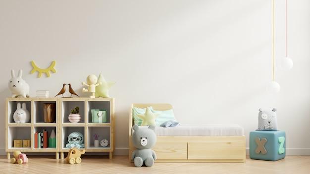 Burlarse de la pared en la habitación de los niños en la pared blanca. Foto Premium