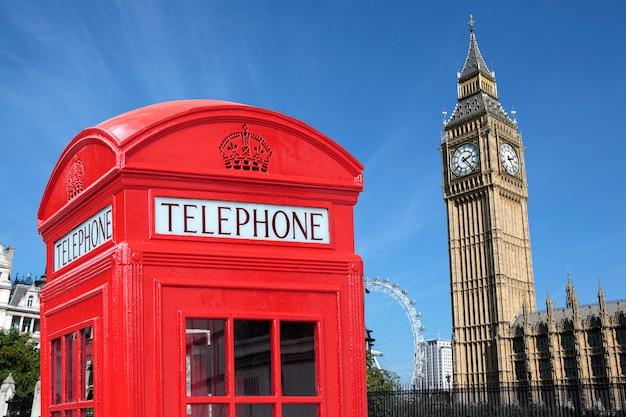 Cabina telefónica de londres big ben Foto Premium