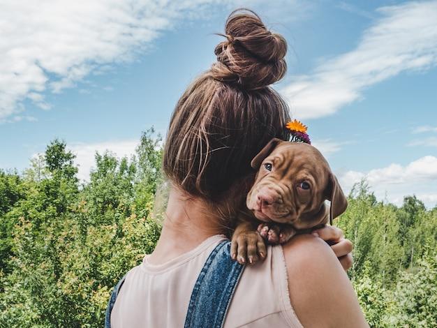 Cachorro, acostado en el hombro de una mujer Foto Premium