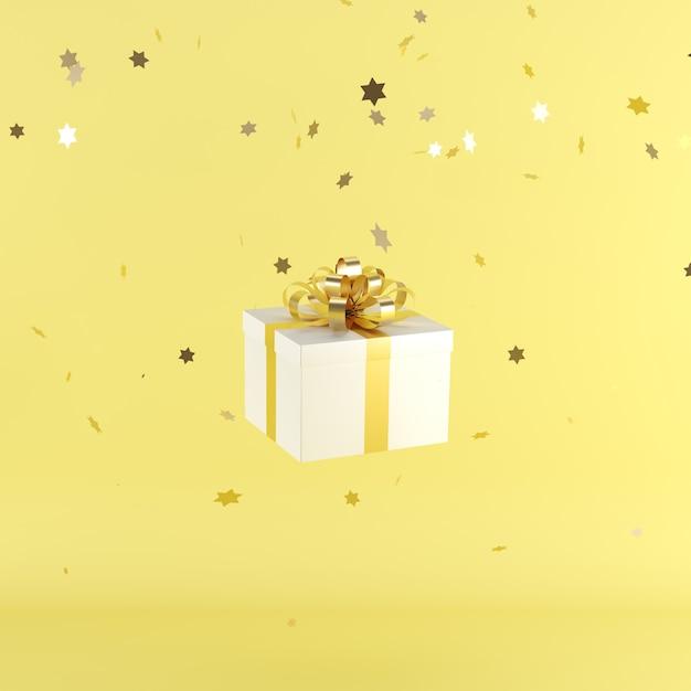 Caja de regalo blanca con cinta de color amarillo sobre fondo de color amarillo Foto Premium