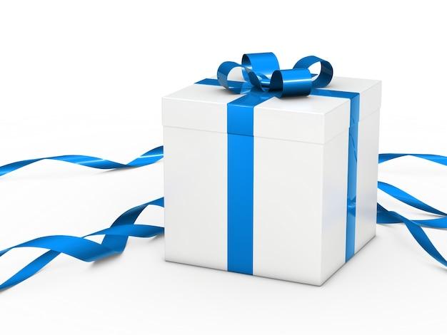 Caja de regalo blancas con lazo azul Foto gratis