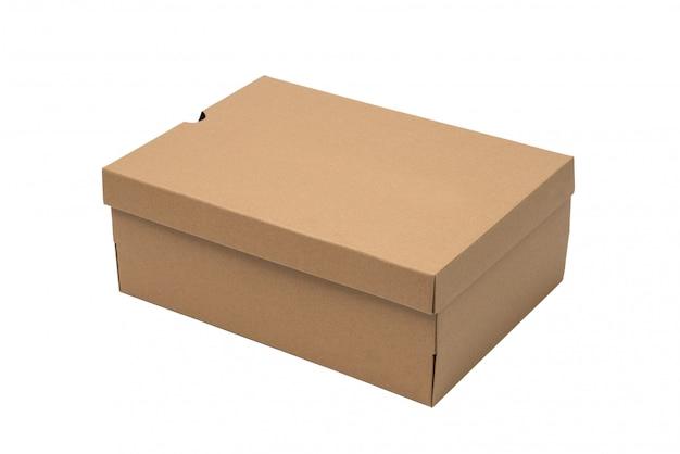 Caja De Zapatos De Cartón Marrón Con Tapa Para El Producto De Calzado O Zapatillas De Deporte Maqueta Foto Premium