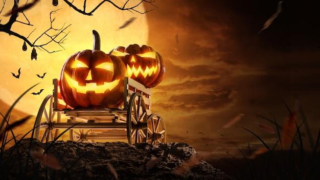 Calabazas de halloween en el carro de la granja en espeluznante en la noche de luna llena y murciélagos volando Foto Premium