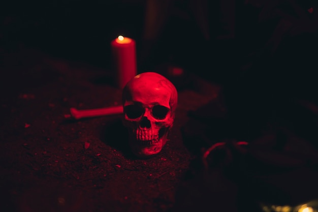 Calavera y vela en una luz roja oscura Foto gratis