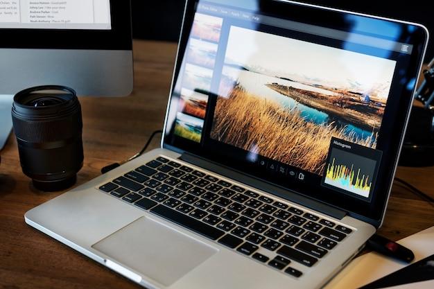 Cámara fotografía diseño estudio edición concepto Foto gratis